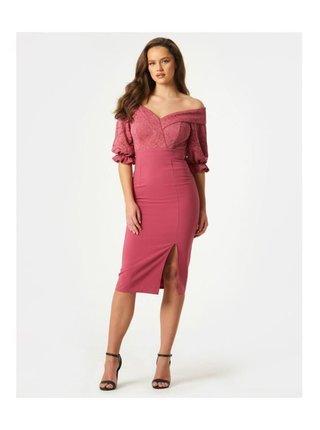 Růžové bardotové midi šaty s krajkou LITTLE MISTRESS