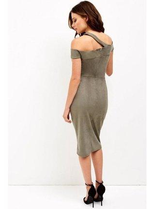 Khaki pouzdrové bardot šaty LITTLE MISTRESS
