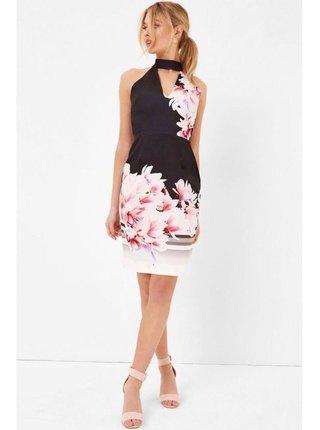 Černobílé midi šaty s květinovým motivem LITTLE MISTRESS