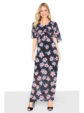 Černé maxi šaty s květinovým motivem LITTLE MISTRESS