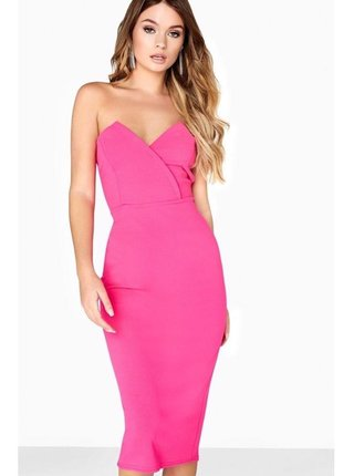 Růžové pouzdrové šaty bez ramínek LITTLE MISTRESS