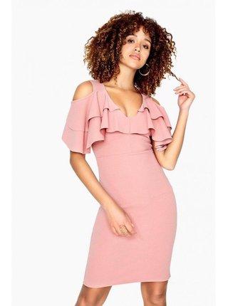 Růžové mini šaty s odhalenými rameny LITTLE MISTRESS