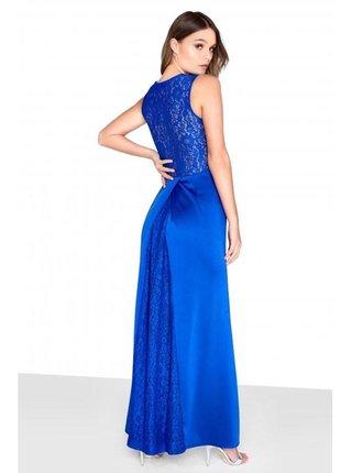 Modré maxi šaty se zdobeným pasem LITTLE MISTRESS