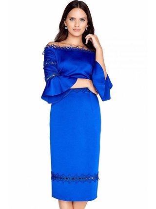 Modré přiléhavé šaty s krajkovým lemem LITTLE MISTRESS
