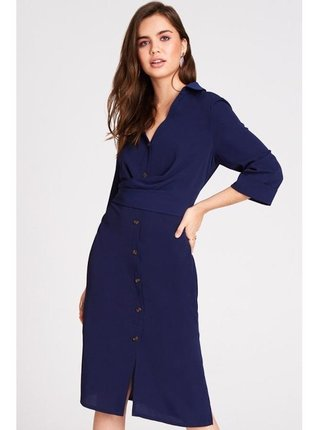 Tmavě modré zdobené maxi šaty LITTLE MISTRESS