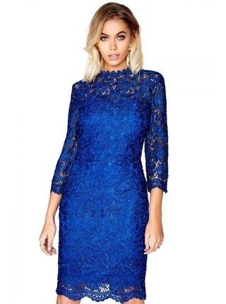 Tmavě modré krajkové midi šaty LITTLE MISTRESS