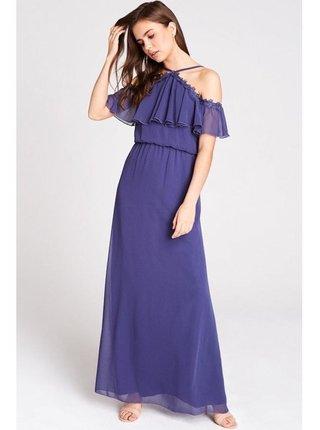 Fialové maxi šaty s volánem LITTLE MISTRESS