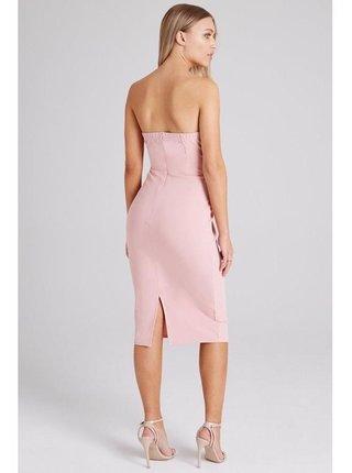 Růžové šaty s volánkovou aplikací LITTLE MISTRESS