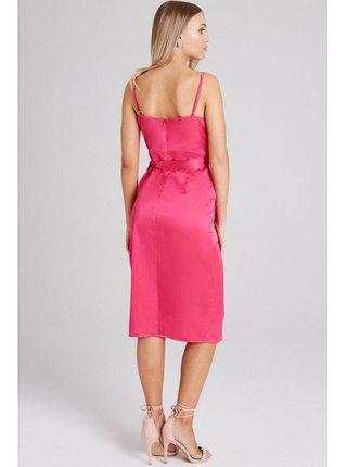 Růžové ramínkové šaty s opásáním LITTLE MISTRESS
