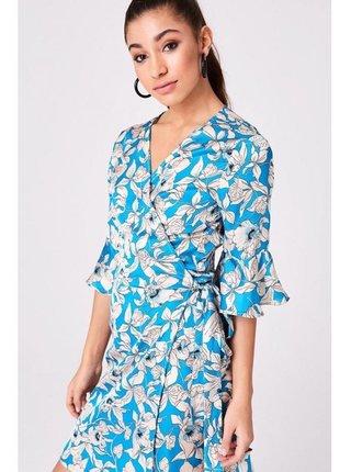 Modré zavinovací květinové šaty LITTLE MISTRESS