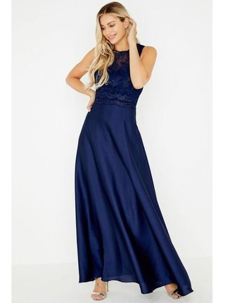Tmavě modré maxi šaty s ramínkovými zády LITTLE MISTRESS