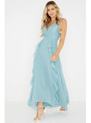 Modré volánkové maxi šaty s krajkou LITTLE MISTRESS