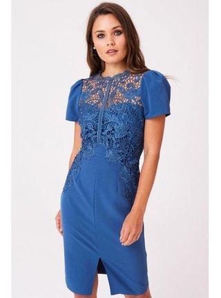 Modré šaty s háčkovanou krajkou LITTLE MISTRESS