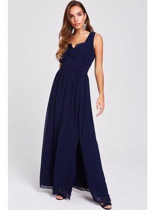 Tmavě modré maxi šaty s krajkou LITTLE MISTRESS
