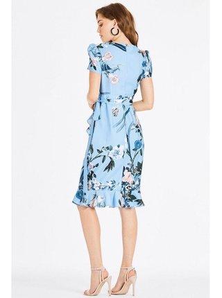 Modré zavinovací šaty s květinovým motivem LITTLE MISTRESS