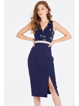Tmavě modré pouzdrové midi šaty LITTLE MISTRESS