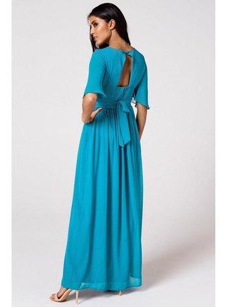 Tyrkysové maxi šaty s přestřižením v pase LITTLE MISTRESS