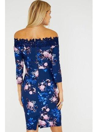 Tmavě modré bardotové květinové šaty LITTLE MISTRESS