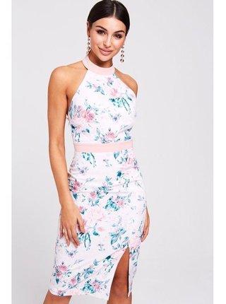 Bílé šaty s květinovým potiskem LITTLE MISTRESS