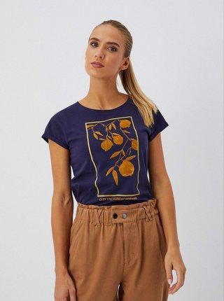 Tmavomodré dámske tričko s potlačou Moodo