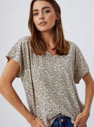 Béžové dámské květované volné tričko Moodo