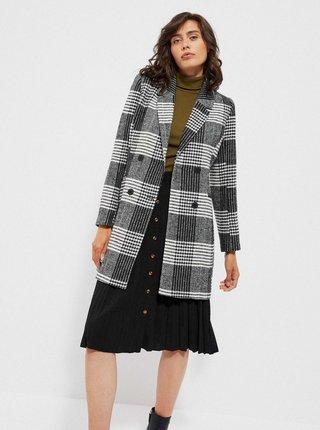 Šedý dámsky kockovaný kabát Moodo