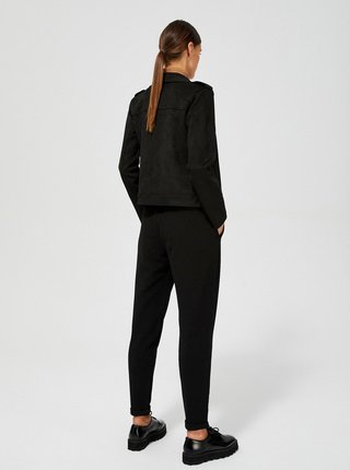 Čierna dámska bunda v semišovej úprave Moodo