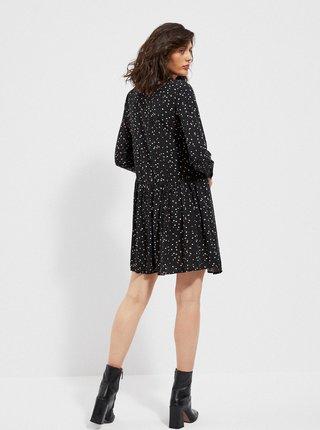 Čierne bodkované košeľové šaty Moodo