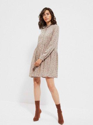Béžové puntíkované košilové šaty Moodo