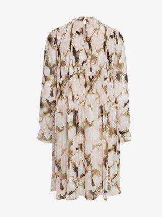 Béžové vzorované voľné šaty ICHI