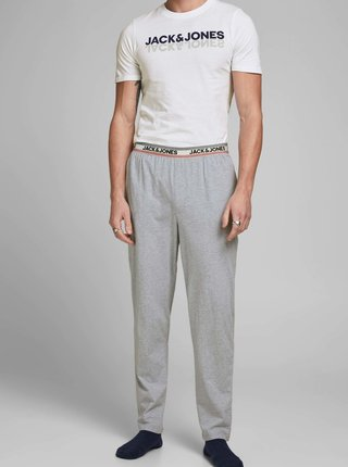 Šedo-biele pyžamo s potlačou Jack & Jones Jacjones