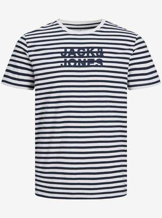 Modro-biele pruhované tričko s nápisom Jack & Jones Vardant