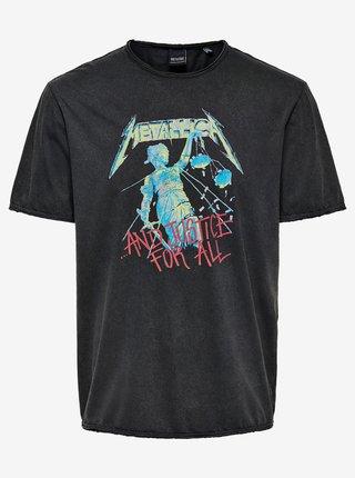 Tmavošedé tričko s potlačou ONLY & SONS Metallica