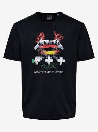 Čierne tričko s potlačou ONLY & SONS Metallica