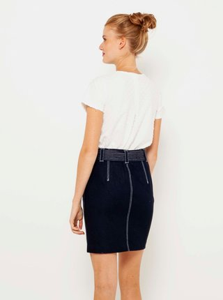 Tmavomodrá rifľová púzdrová sukňa CAMAIEU