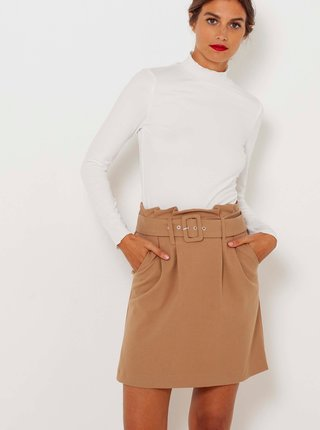 Béžová sukně s ozdobným páskem CAMAIEU