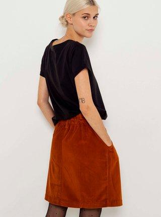 Hnedá sametová sukňa CAMAIEU