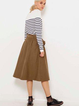 Hnedá midi sukňa so zaväzovaním CAMAIEU