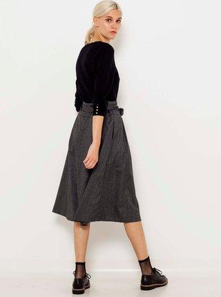 Tmavošedá midi sukňa so zaväzovaním CAMAIEU