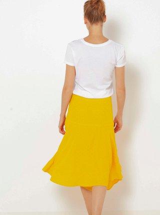 Žlutá asymetrická midi sukně CAMAIEU