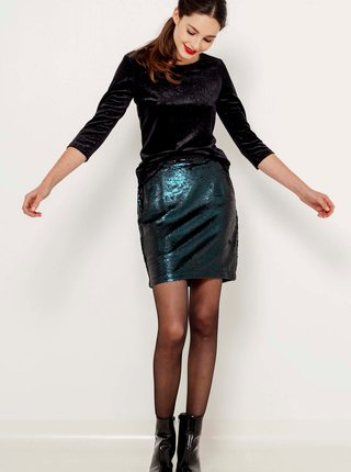 Tmavě zelená flitrovaná mini sukně CAMAIEU