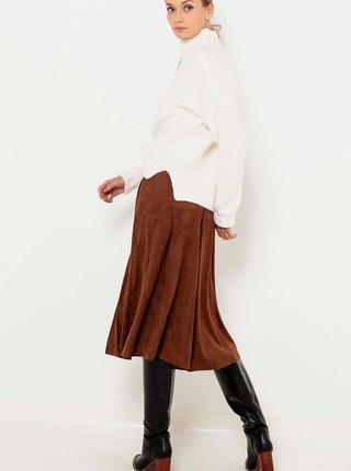 Hnedá sukňa v semišovej úprave CAMAIEU