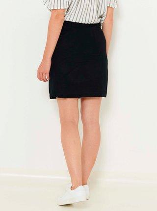Černá lněná sukně s ozdobnými knoflíky CAMAIEU