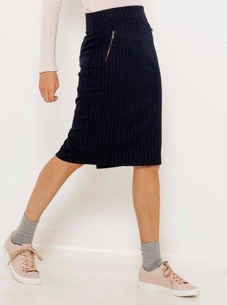 Tmavě modrá pruhovaná pouzdrová sukně CAMAIEU