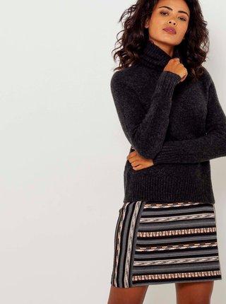 Šedá pruhovaná sukňa CAMAIEU