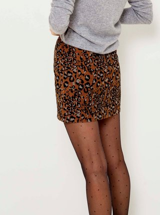 Hnedá sukňa s leopardím vzorom CAMAIEU