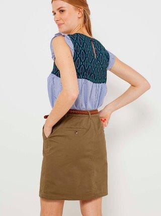 Khaki sukně s kapsami CAMAIEU