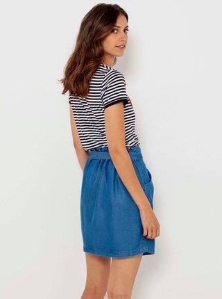 Modrá džínová sukně s kapsami CAMAIEU