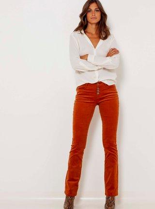 Oranžové manšestrové flared fit kalhoty CAMAIEU