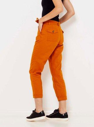 Oranžové lněné zkrácené kalhoty CAMAIEU
